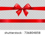 red bow isolated background  | Shutterstock . vector #736804858