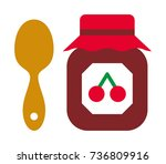 cherry jam vector icon | Shutterstock .eps vector #736809916