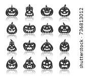 carving face halloween pumpkin... | Shutterstock .eps vector #736813012