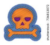 halloween skull embroidery... | Shutterstock .eps vector #736813072