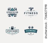 set of fitness badges with... | Shutterstock .eps vector #736827598