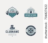 set of fitness badges with... | Shutterstock .eps vector #736827622