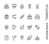 happy birthday icon set.... | Shutterstock .eps vector #736829116
