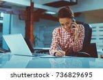 secretary on phone writing a... | Shutterstock . vector #736829695