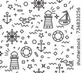 seamless marine pattern in thin ... | Shutterstock .eps vector #736833256