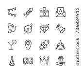 happy birthday icon set.... | Shutterstock .eps vector #736834912