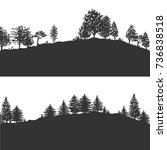 forest trees silhouettes... | Shutterstock .eps vector #736838518