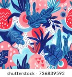 seamless exotic pattern with... | Shutterstock . vector #736839592