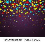 colorful confetti of stars and... | Shutterstock .eps vector #736841422