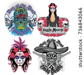 holy death  day of the dead ... | Shutterstock .eps vector #736843066