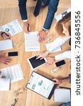 top view of businesspeople... | Shutterstock . vector #736845556