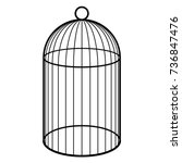 An Empty Cage For A Bird. Blac...