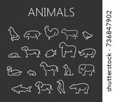 Stock vector animal icons 736847902