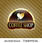 gold shiny badge with heart... | Shutterstock .eps vector #736849636