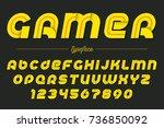 gamer vector decorative italic... | Shutterstock .eps vector #736850092