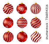 red and white christmas balls... | Shutterstock .eps vector #736854316