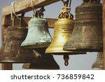 large church bells hanging... | Shutterstock . vector #736859842