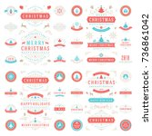 christmas labels and badges... | Shutterstock .eps vector #736861042
