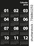 simple line calendar template... | Shutterstock .eps vector #736861252