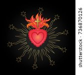 sacred heart of jesus with rays.... | Shutterstock .eps vector #736870126