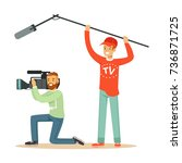 tv people at work recording news | Shutterstock .eps vector #736871725