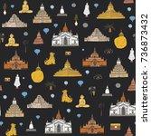 myanmar burma travel...   Shutterstock .eps vector #736873432