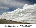 Small photo of Snow heap on side road