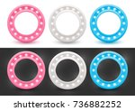 set of round frames with... | Shutterstock .eps vector #736882252