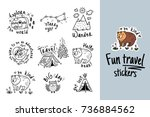 fun travel stickers and patches ... | Shutterstock .eps vector #736884562