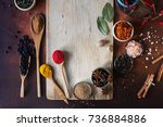 various indian spices in wooden ... | Shutterstock . vector #736884886