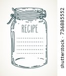 recipe template. vector hand... | Shutterstock .eps vector #736885552