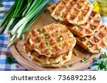 waffles with cheese and onions