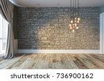 modern bright empty interior... | Shutterstock . vector #736900162