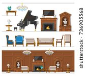 vip vintage interior furniture... | Shutterstock .eps vector #736905568
