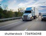 sleeper truck on highway | Shutterstock . vector #736906048