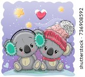 cute winter illustration with... | Shutterstock .eps vector #736908592