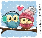 two cute drawn owls  sits on a... | Shutterstock .eps vector #736908616