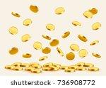 falling coins  falling money ...   Shutterstock .eps vector #736908772
