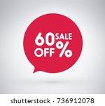 60  offer label sticker  sale... | Shutterstock .eps vector #736912078
