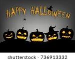 five halloween pumpkins...   Shutterstock . vector #736913332