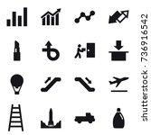 16 vector icon set   graph ... | Shutterstock .eps vector #736916542