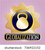 gold shiny emblem with... | Shutterstock .eps vector #736922152