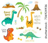 cute vector dinosaurs isolated... | Shutterstock .eps vector #736924936