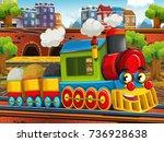 cartoon funny looking steam... | Shutterstock . vector #736928638
