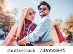shopping. beautiful young... | Shutterstock . vector #736933645
