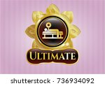 gold emblem with bench press... | Shutterstock .eps vector #736934092