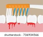 toothbrush cleans teeth.... | Shutterstock .eps vector #736934566
