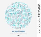 machine learning and artificial ... | Shutterstock .eps vector #736934986