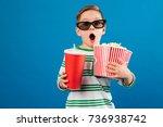 shocked young boy in eyeglasses ...   Shutterstock . vector #736938742