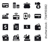 16 vector icon set   card  coin ... | Shutterstock .eps vector #736950382
